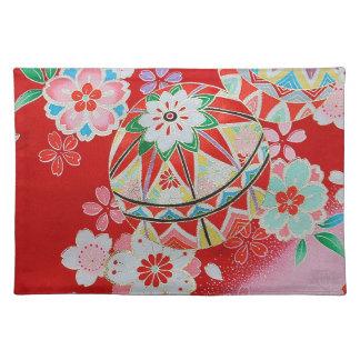 日本のな着物の織物、花パターン ランチョンマット