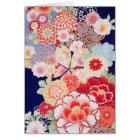 日本のな着物の織物、花 カード
