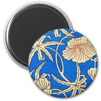 日本のな絹生地-青およびベージュ色 マグネット