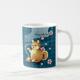 日本のな緑茶の柴犬の桜のマグ コーヒーマグカップ