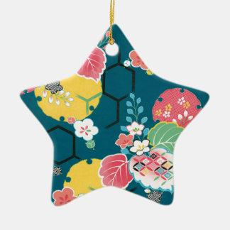 日本のな花の幾何学的なパターン セラミックオーナメント