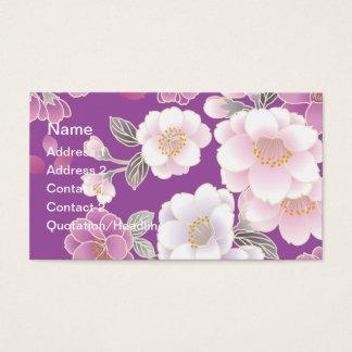 日本のな花の着物パターンファインアート 名刺