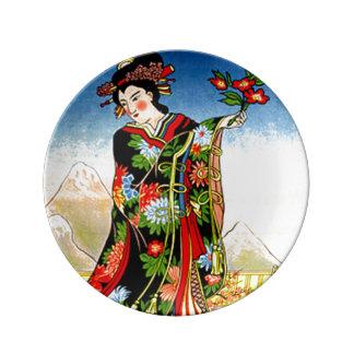 日本のな芸者女の子の芸術 磁器プレート