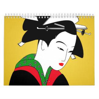 日本のな芸者女の子 カレンダー