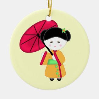 日本のな芸者女の子 セラミックオーナメント