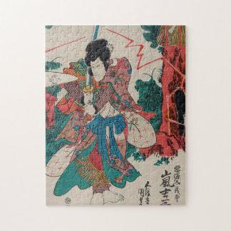 日本のな芸術- Kabukiショーの剣を持つ武士 ジグソーパズル