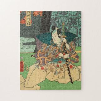 日本のな芸術- Katanaの剣を握っている武士 ジグソーパズル