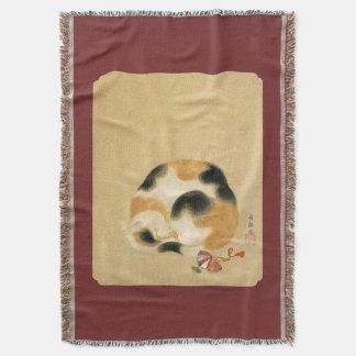 日本のな茶色のぶち猫、Hanabusa Itchō スローブランケット