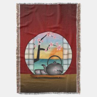 日本のな茶部屋の赤い編まれたブランケット スローブランケット