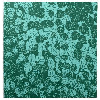 日本のな葉のプリント、ターコイズおよび水 ナプキンクロス