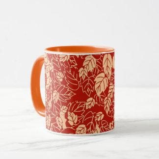 日本のな葉のプリント、マンダリンオレンジ マグカップ