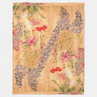 日本のな藤のバラの花の花柄の庭 フリースブランケット
