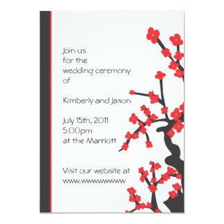 日本のな赤は結婚式招待状活気付きます 12.7 X 17.8 インビテーションカード