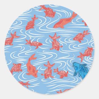 日本のな金魚およびコイ ラウンドシール