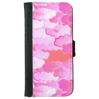 日本のな雲、夜明け、蘭のピンクおよび珊瑚 iPhone 6/6S ウォレットケース