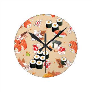 日本のな食糧: 寿司パターン3 ラウンド壁時計