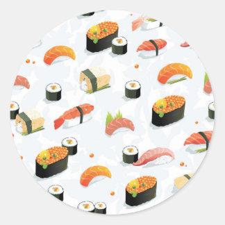 日本のな食糧: 寿司パターン ラウンドシール