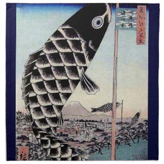 日本のな魚凧のコイのプリント ナプキンクロス