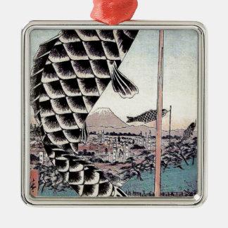日本のな魚凧のコイのプリント メタルオーナメント