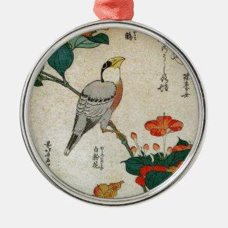 日本のなGrosbeakおよびMirabilis Jalapa (Hokusai) メタルオーナメント