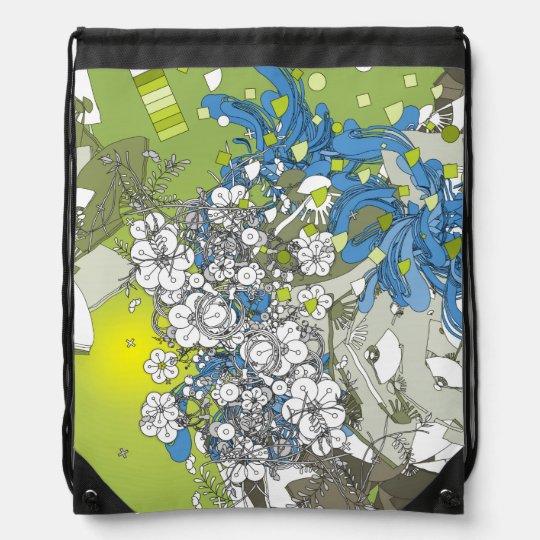 日本のレトロな花と扇や植物 緑と青 ナップサック