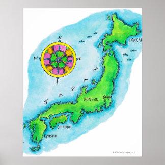 日本の地図 ポスター