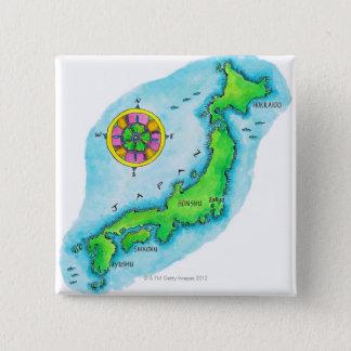 日本の地図 5.1CM 正方形バッジ