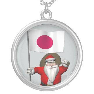 日本の旗を持つサンタクロース シルバープレートネックレス
