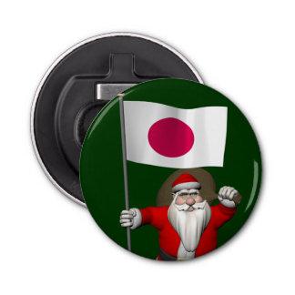 日本の旗を持つサンタクロース 栓抜き