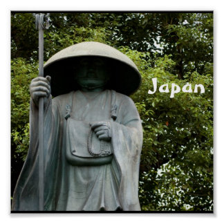 日本の日本のな修道士の彫像 ポスター