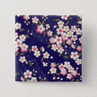 日本の桜、着物、Origami、Chiyogamiの花、 5.1cm 正方形バッジ
