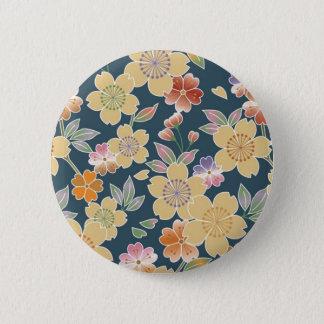 日本の桜、着物、Origami、Chiyogamiの花、 5.7cm 丸型バッジ