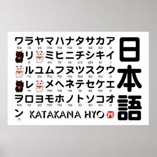 日本の片仮名(アルファベット)のテーブル print