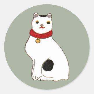 日本の猫の人形、日本のな猫の人形 ラウンドシール