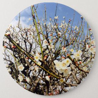 日本の白い花 15.2CM 丸型バッジ