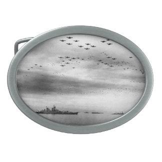 日本のUSS Missouriの上空飛行の降伏 卵形バックル