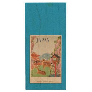 日本ヴィンテージ旅行ポスター ウッドUSBフラッシュドライブ