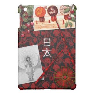 日本人の刺激を受けたで赤くおよび黒いデザイン iPad MINIカバー