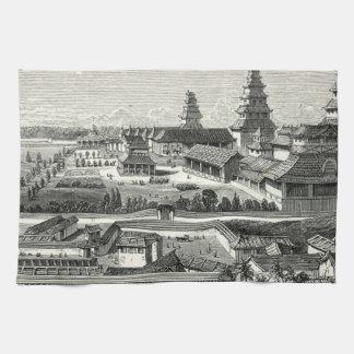 日本人の江戸東京の城宮殿の複雑な版木、銅版、版画 キッチンタオル