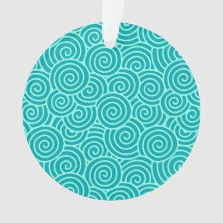 日本人の渦巻パターン-ターコイズおよび水 オーナメント