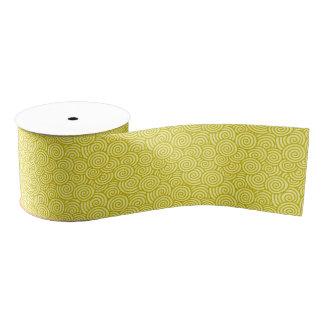 日本人の渦巻パターン-マスタードおよび薄黄色 グログランリボン