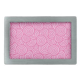 日本人の渦巻パターン-柔らかいペパーミントのピンク 長方形ベルトバックル