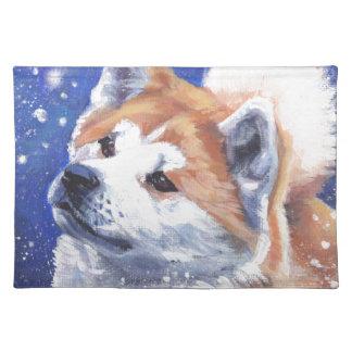 日本人の秋田のファインアート犬の絵画 ランチョンマット