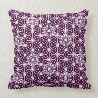 日本人のAsanohaパターン-ナスの紫色 クッション