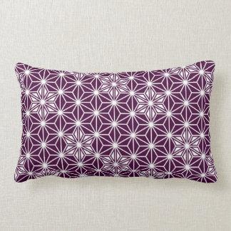 日本人のAsanohaパターン-ナスの紫色 ランバークッション
