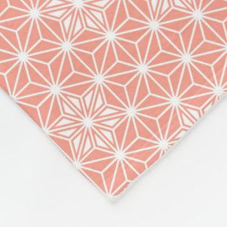 日本人のAsanohaパターン-珊瑚のピンク フリースブランケット