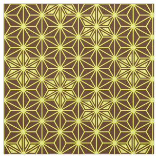 日本人のAsanohaパターン-茶色および黄色 ファブリック