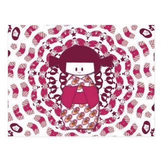 日本人のKokeshiの人形、バーガンディ ポストカード