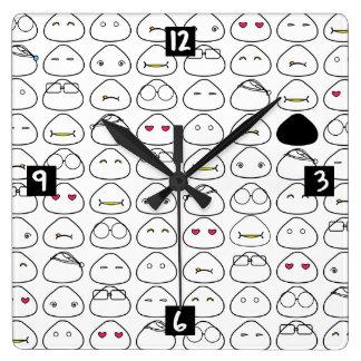 日本人のOnigiri Fluoパターン スクエア壁時計