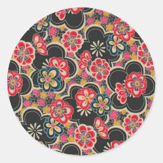 日本人のOrigamiのデザインの多色刷りの花の着物 ラウンドシール